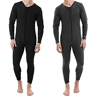 Mens Thermal All In One Jumpsuit Onesie Double Zip Front Fastening Bodysuit Playsuit Ski Snow Sport Active Warm Winter Baselayer Underwear