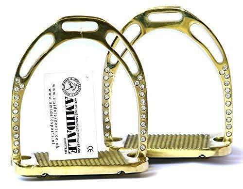 Amidale Jinn Steigbügel Reiten REIT Messing Golden mit 44 Kristalle Neu mit Etikett - 4,75