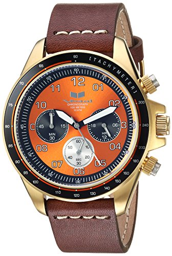 Vestal 'ZR2' Quartz Stainless Steel and Leather Casual Watch, Color:Brown (Model: ZR243L22.BRWH)