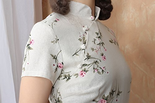 ACVIP Damen Verbessern Kurze Ärmel Blumen Muster Schlitz Kunst Schlank Cheongsam Farbe1