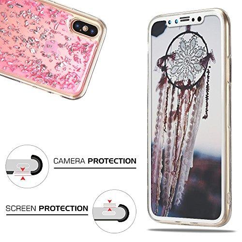 Cover iPhone X, Custodia iPhone 10, CaseLover Custodia per iPhone X / 10 Morbido TPU Silicone Trasparente Bling Bling Glitter Protettiva Case Ultra Sottile Flessibile Lusso Cristallo Scintilla Scintil Rosa