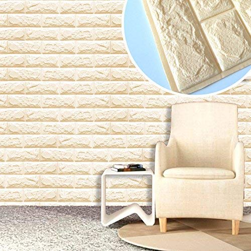 euwanyu Home Decor 3D PE Foam Tile Sticker for Kitchen Backsplash Wall Panels Textured Design Art Tiles Wall Tile (Beige) - Textured Foam