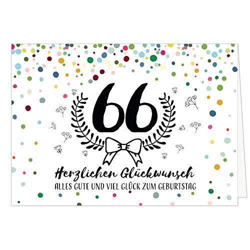 Große Glückwunschkarte zum 66. Geburtstag XXL (A4) Schnaps-Zahl/mit Umschlag/Edle Design Klappkarte/Glückwunsch/Happy Birthday Geburtstagskarte/Extra Groß/Edle Maxi Gruß-Karte
