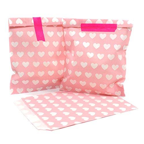 Papiertüten 25 Stück | rosa mit Herzen