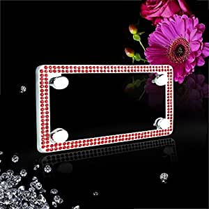 JR2 Motorcycle Double Rows Red Color Glass Crystal Embedded Metal Chrome License Plate Frame with Free Caps