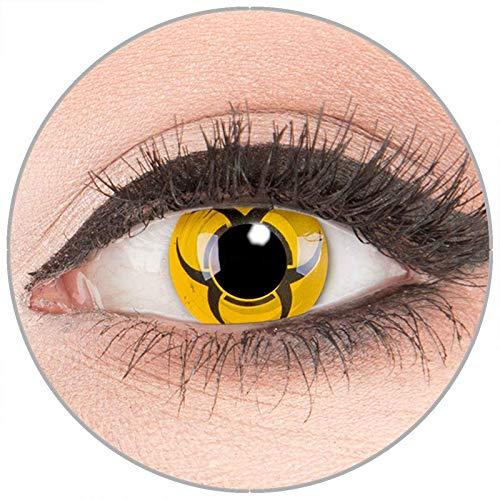 Farbige Kontaktlinsen zu Fasching Karneval Halloween in Topqualität von 'Glamlens' ohne Stärke 1 Paar Crazy Fun gelbe schwarze 'Biohazard' mit - Gelb Darth Maul Kostüm