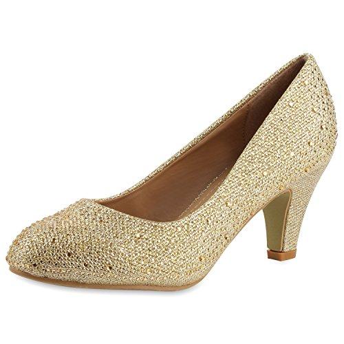 SCARPE VITA Klassische Damen Pumps Strass Glitzer Party Metallic Stilettos 160681 Gold Strass 39