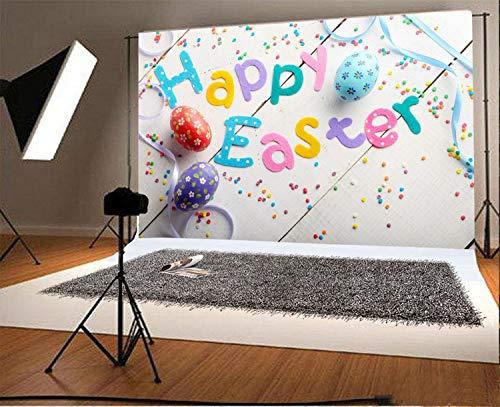 JoneAJ 5x3ft Vinyl Fotografie Hintergrund Frohe Ostern Satz aus Stoff Buchstaben auf weißem Tisch Farbe Eier Szene Foto Hintergrund Kinder Baby Erwachsene Porträts Hintergrund