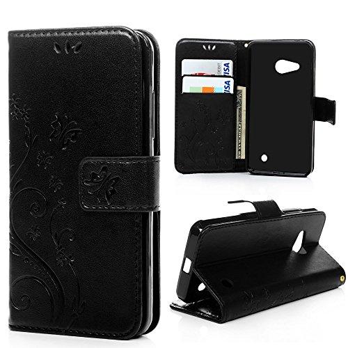 MAXFE.CO Lederhülle Leder Tasche Case Cover für Microsoft Lumia 550 / Nokia N550 Hülle PU Schutz Etui Schale Schwarz Backcover Flip Cover Wallet mit Standfunktion Karteneinschub Etui