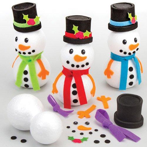 Schneemann-Bastelsets für Kinder zum Basteln und Dekorieren zu Weihnachten (4 Stück)