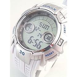 Omax Waterproof 10 Bar Sports Chronograph Unisex Alarm Light Stopwatch Countdown Timer Date Watch DP03-White