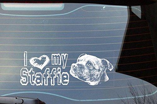 I love my Staffie, Staffie On Board Auto Fenster Aufkleber–weiß (Pfote Drucken Haustier-schüssel)