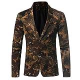 Bluestercool Hommes Camouflage Imprimé Blazer Veste Manches Longues Tops (Camouflage, XXXL)