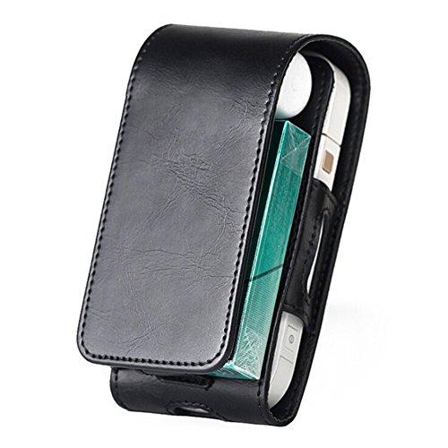 Yeleo Trosetry Zigarettenschachtel Leder E-Zigarette Fall Portable PU Leder Geldbörse mit Clip Haken für Elektrische Zigarettenetui für IQOS Elektronische Zigarette (Schwarz)
