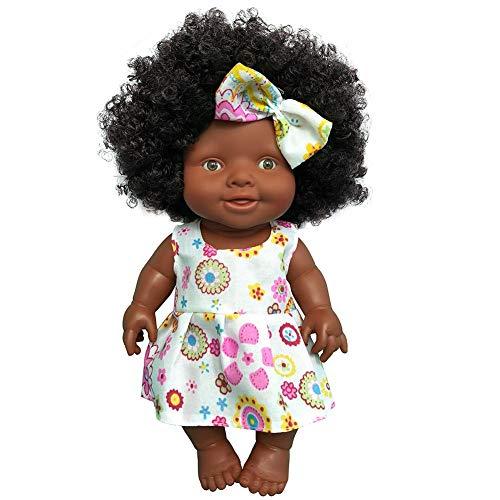 Nueva muñeca negra muñeca africana de goma verde muñeca niñas Juguete Negro Simulación Muñecas para niños Niños pequeños Vacaciones de Navidad y regalos de cumpleaños para niños