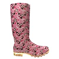 P343 PINK WITH HEARTS FUNKY WOMENS LADIES GIRLS WELLIES WELLIE BOOTS RAIN SNOW SIZES 3, 4, 5, 6, 6.5 & 7 (6.5)