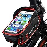 Borsa Bici, ieGeek 6 inch Borsa Telaio Bici, borsa manubrio bici, Bicycle Accessories, impermeabile borsa telefono bici per iPhoneX/ iPhone 8 Plus/ Galaxy Note 8/S8/Huawei, Nero e Rosso