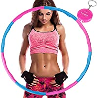 Aoweika Hula Hoop for Weight Reduction, Hoop with Foam Approx. 1 kg with Mini Tape Measure, Adjustable Weight 19-35...