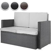 Miadomodo Divano giardino esterno divano poltrona giardino divano lounge polyrattan esterno grigio