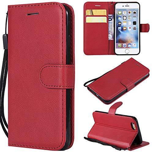 Artfeel Flip Brieftasche Hülle für iPhone 6, iPhone 6S Premium PU Leder Handyhülle mit Kartenhalter,Retro Bookstyle Stand Abdeckung mit Magnetverschluss Handschlaufe Hülle-Rot -