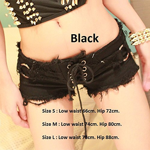 Ruiyue Mini-Denim-Shorts, Sommer Sexy Denim Lacing Booty Shorts Cute Bikini Sexy Jeans Shorts Low Rise Strand Jeans für Frauen (Farbe : Black, Size : L) (Low-rise Denim-jean-shorts)