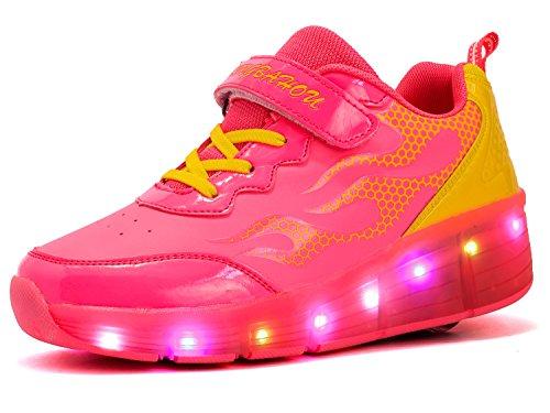 Preisvergleich Produktbild Mr.Ang Unisex LED Licht 7 Farbe Farbwechsel Sneaker Skate Shoes Schuhe Rollen Verstellbare Schlittschuhe Skateboard Lnline Sneaker Einzelnes Rad Jungen Mädchen Kinder
