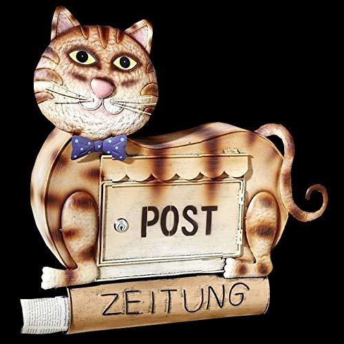 Dreams 4741 Briefkasten mit Schloss, Design Katze, inkl. Zeitungsrolle, Größe 50x53x15 cm