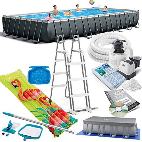 Intex 975x488x132 cm Ultra Frame Swimming Pool 26374 Komplett-Set mit Extra-Zubehör wie: Filterglas, Reinigungsset, Skimmer, Luftmatratze und Fußbad