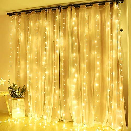 Rideau Lumière 12 Étoiles 138 LEDs 2M Quntis Guirlande Lumineus Murale 8 Modes Éclairage Intérieure Noël Mariage Fête Décoration Lumineuse Blanc Chaud légère pour Maison Fenêtre Jardin Anniversaire