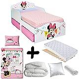 BEBEGAVROCHE Komplettpaket Premium Bett Minnie Mouse Schubladen = Bett + Matratze & Bettwäsche + Bettdecke + Kissen