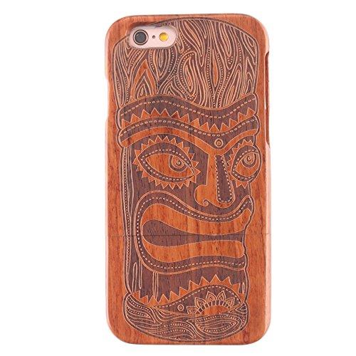 Coque iPhone 7 Anti Choc Case en Bois Naturel Forepin® Réel Etui Couvert et Housse en Wood Dur dans Motif de Sculpté élégante Protecteur pour iPhone 7,4.7 inch (Lion) Primitif