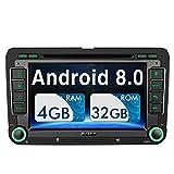 Pumpkin Android 8.0 Autoradio DVD Player für VW mit Navi Unterstützt Bluetooth DAB + USB CD DVD WLAN 4G Android Auto MicroSD 2 Din 7 Zoll Bildschirm