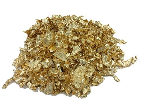 Flakes Flakes Feuilles dorées – Décoration de luxe pour table, appartement, bricolage, décoration, décoration de caravane, décoration dorée en métal – 0,5 ou 1 ou 2 l au choix, Métal, or, 1Liter