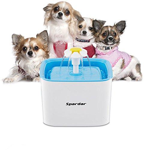 Spardar Haustier Blumentrinkbrunnen Trinkbrunnen 2.5L für Katzen und Hunde Automatisch Leise Haustier Wasserbrunnen Wasserspender mit Aktivkohlefilter