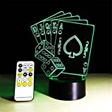Tischleuchte Karten Schreibtischlampe 3d 7 Farben ändern Noten-Schalter Fernbedienung Tabelle LED-Licht-Nachtbeleuchtung Hauptdekoration Haushaltszubehör