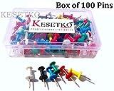 #6: KESETKO Thumb Pins, Push Pins, (100 Pcs) Multicolored