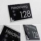 Designer Hausnummer/Namensschild mit Gravur a. Hochglanz Acrylglas/Edelstahl versch. Farben 30x20cm/ca.7mm Stärke - Lasergravur (kein Druck!) Haus/Familienhaus/Garten/1 2 3 4 5 6 7 8 9 0