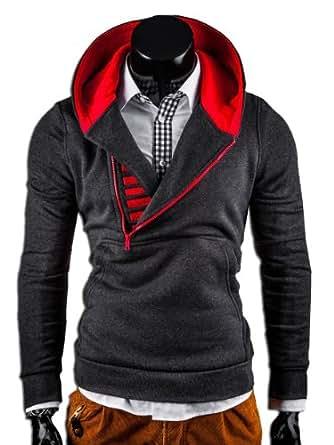 MT Styles Kapuzenpullover mit Zipper Pullover S-112 [Dunkelgrau, S]