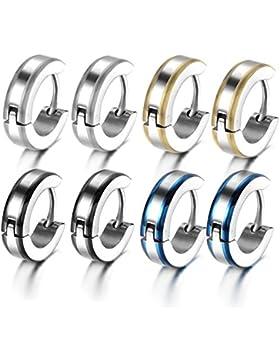 Oidea 4 Paare(8PCS) Herren Damen Ohrringe, Hoch Poliert 4MM Breit Glatt Creolen Ohrstecker Ohrschmuck, Edelstahl...