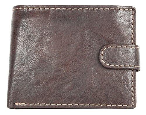 Herren Italienisches Braunes Taschenformat Leder Portemonnaie mit einer Schnalle