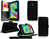 Alcatel U5 4047X 3G Hülle, Brieftasche Schutzhülle Case Hülle mit Kartenfächer und Standfunktion für Alcatel U5 4047X 3G Smartphone + Stylus (Black Book)