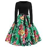 IZHH Damenmode Kleider Frauen Brautkleider Vintage Elegante Kleider Print Langarm Oansatz LäSsige SchöNe Kleider Prom Faltenrock Bikini Abendkleider Swing Kleider(Grün1,Small)