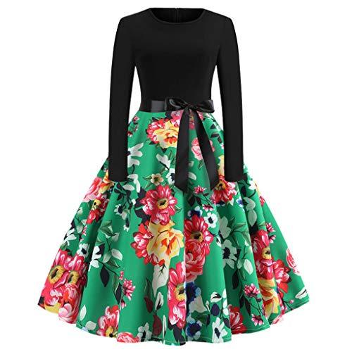 IZHH Damenmode Kleider Frauen Brautkleider Vintage Elegante Kleider Print Langarm Oansatz LäSsige...