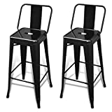 Best Tabourets de bar - vidaXL 2 Tabourets de Bar Hauts Noir Chaise Review