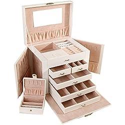 Asvert Grande Boîte à Bijoux en Cuir PU Coffret/Coffre à Bijoux 5 Tiroirs avec Mirroir Mallette à Maquillage Comestique Beauty Case Elégant, 5 Couches, 26,5 x 23 x 20cm, Blanc