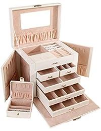 Asvert Joyero de 5 Alturas Organizador Caja Joyas con Espejo para Viaje 26.5 x 19.8 x 23cm