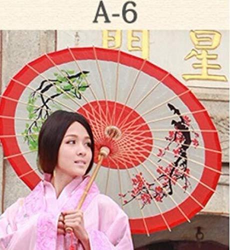 AJIAO Paraguas Paraguas Sol bambú Lluvia Mujer Aceite
