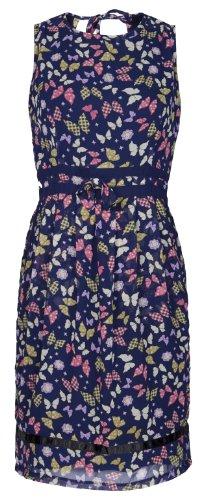 MyMust - Modisches Kleid mit Schnürung im Nacken - Dunkelblau & Schmetterlinge Size 46