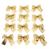 Weihnachten Schleifen Weihnachtsbaumschmuck DIY Zierschleifen für Christmas Party Dekoration(Golden)