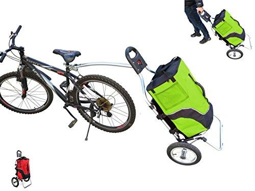 POLIRONESHOP GEKO trolley rimorchio per bici bicicletta carrello carrellino da spesa porta portaspesa portapacchi trasporto cicloturismo x (VERDE)